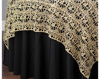 """Gold Chemical Lace Table Overlay 48"""" X 48"""" Square Tablecloth Cover"""