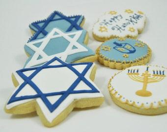 Assorted Happy Hanukkah Set Decorated Sugar Cookies - 1 Dozen - Star of David - Menorah - Dreidel Game