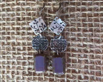 Purple Flower Dangle Earrings