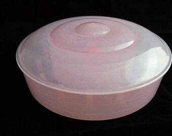 Sewing Box Pin Cushion Pink Plastic Thread Spool Storage Box 50s 60s