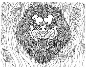 Zentangle Lion Etsy
