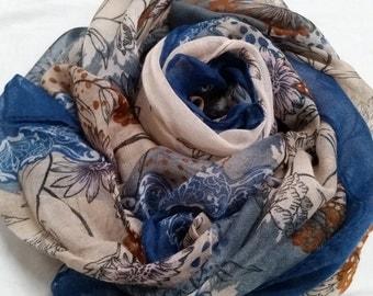 Deep Forest printed scarf/hijab – Ocean Blue & Beige