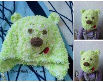 Crochet Bear Hat - Hat Character - Teddy Bear Hat - Boy Girl Hat - Knit Bear Beanie - Animals Hats - Winter Hat - Warm