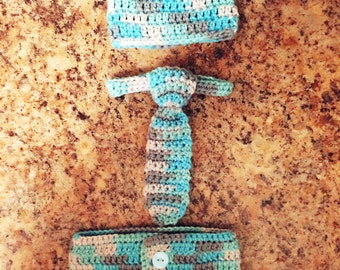 Hand made baby boy beanie, tie and diaper cover
