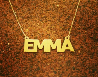 14k Gold Name Necklace / Real Gold / Personalized Name Chain / Solid 14k Gold name Necklace / Classic style name necklace / Pure Gold