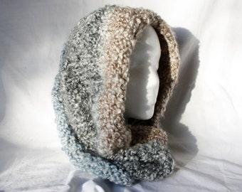 Blue/Gray/Cocoa Circular Scarf - Cowl Scarf - Knit Cowl Scarf - knit Scarf -Knit Infinity Scarf - Knit Hood - Neck Warmer - Buff