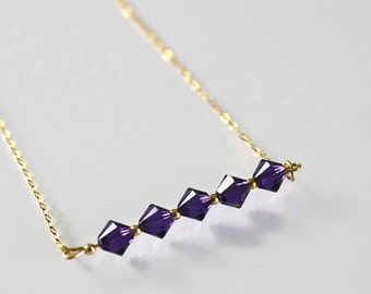 Gold Necklace, purple crystal Beads,Buautiful Necklace.