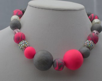 pnk and grey polymer clay necklace