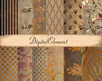 Digital Paper, Digital Gold Scrapbook Paper, Texture Background Paper, Pink Floral Digital Paper, Copper Overlay Texture. No. V3.3DA