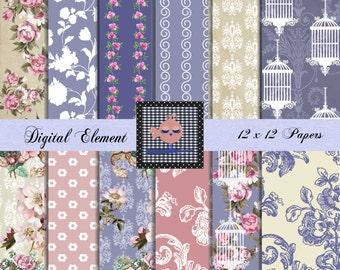 Digital Scrapbook Paper, Digital Shabby Floral Paper, Pink and Blue Paper, Digital Floral Pink Paper, Blue Floral Paper. No. V7.16.DA