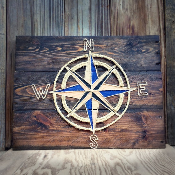 Nautical Rope Decor Items: Items Similar To Compass, Reclaimed Wood & Rope Wall Décor
