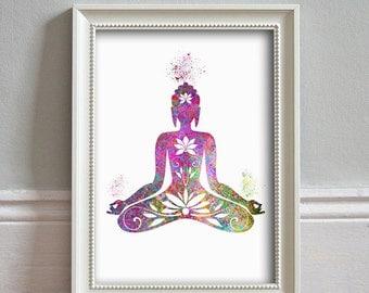Buddha Wall Art - WATERCOLOR Art Print, Illustration, Gift, Wall Art, Nursery Art, Home Decor, Poster Print - PRINT