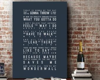 Oasis Wonderwall Inspired Lyrics Love Song Wall Art Song Lyrics Home Decor Anniversary Wedding Gift Typography Lyric PRINT