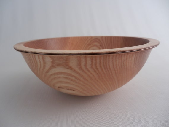 Wooden salad bowl wood fruit ash with copper inlay hand