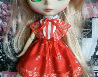 Red cotton dress for Blythe doll