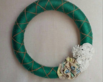 Yarn Wrapped Wreath Felt Flowers  Wall Wreath Fabric Floral Wreath