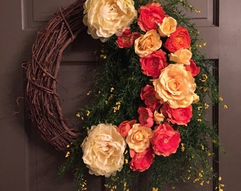 Wreath, Spring Wreath, Fall Wreath, Summer Wreath, Wreaths, Flowers, Grapevine Wreath, Grapevine
