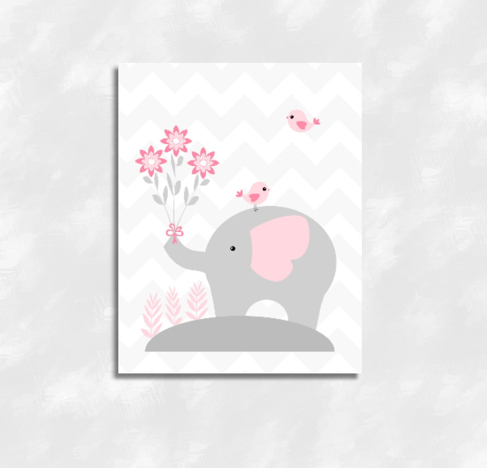 Wall Decor For A Baby Girl Nursery : Baby girl nursery wall art pink gray grey elephant canvas