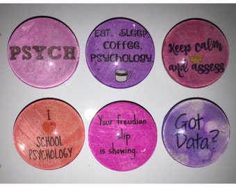 School Psychologist glass magnets, 1 inch (25mm) set of 6