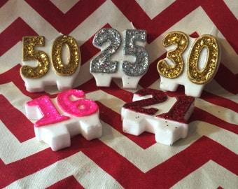 Glitter Birthday Candle Group Numbers Sparkly Pick Your