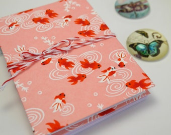 little notebook, red fishes japanese paper, refillable