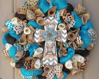 Cross Wreath, Dark Turquoise and Brown Mesh Wreath, Burlap Cross Wreath, Cross Decor