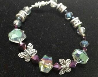 Czech glass and butterfly beaded bracelet