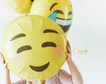 "18"" Emoji Blushing super cute foil balloons - yellow balloon - party balloons"