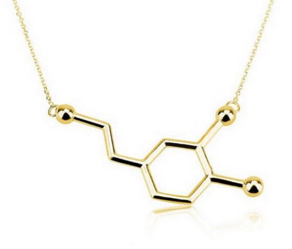 Dopamine Molecule Necklace: 18K Gold Plated Dopamine Molecule Necklace By
