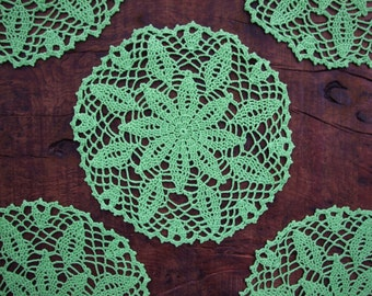 Green Cozy Crochet Tablecloth, Tablerunner, Doily, Place Mat, For Home Decor.