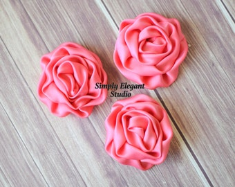 Coral Rolled Satin Flowers, Fabric Flowers, Headband Flowers, DIY Craft Supply Flowers