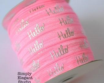 "Pink HELLO Print Fold Over Elastic, 5/8"" Elastic, Headband and Hair Tie Supply, Elastic by the Yard"