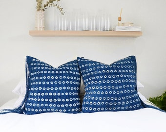 Spotted Batik Vintage Indigo  Lumbar Pillow *Insert Included