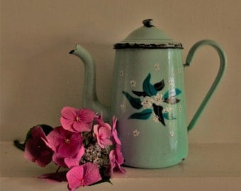 Vintage Aquamarine French Enamel Coffee Pot with Flowers Motifs  (on both sides)