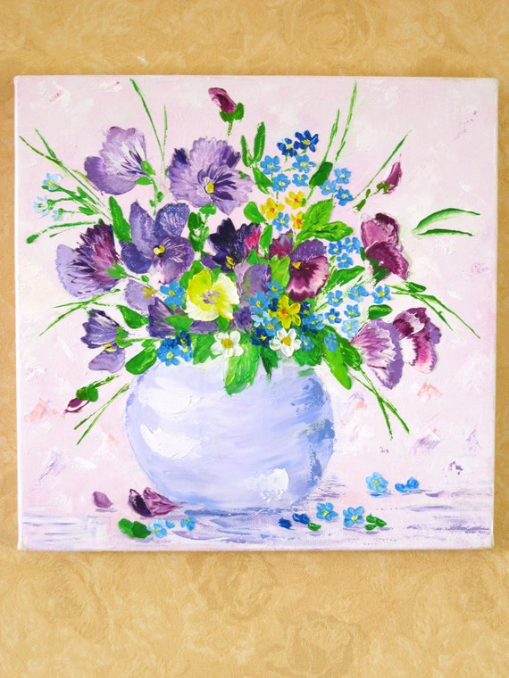 Painting Original Art Wall Art prints Unique Pink Unique gift Small paintings Flowers pansies Colorful art Wall decor bedroom Still life