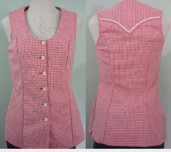 1960s Western Blouse / Sleeveless Red and White Check Shirt / Panhandle Slim Button Down / Modern Size Medium-Large