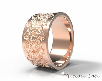 Wide Gold Ring with Lace Texture, Anniversary Ring, Gold Wedding Ring, Wedding Band, Tube Gold Ring, Rose Gold Ring, White Gold Band