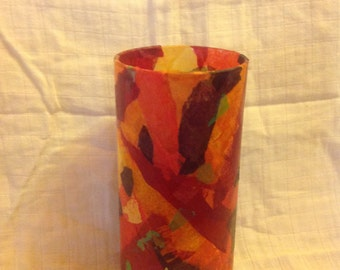 Collage decorated vase