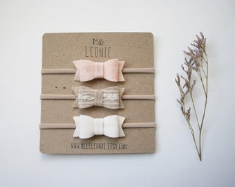 Trio of headbands for baby / child nylon - loops Merino Wool - white, pale pink, beige and lace