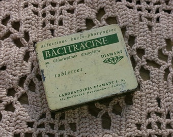 Small box empty for tablets Bacitracin vintage