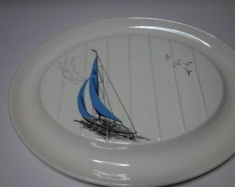 1950 Palissy blue Regatta meat plate
