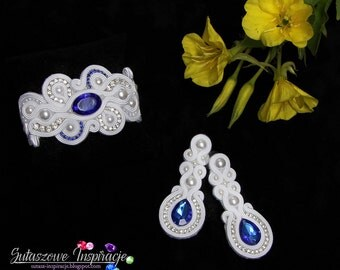 Wedding bridal long soutache earrings bracelet Swarovski crystals embroidery lunghi orecchini pendenti orecchini da sposa boucles d'oreilles