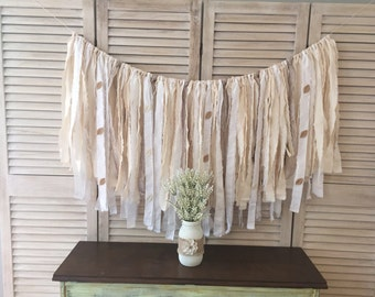 Rustic Ivory Fabric, Lace, and Burlap Wedding Banner, rustic country wedding photo backdrop, backyard wedding rag fabric garland