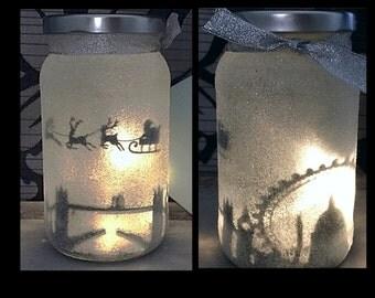 Night light, mood lighting, Santa over London in a jar, Fairy Jar, Glitter Jar, Christmas, light up jars, mason jars