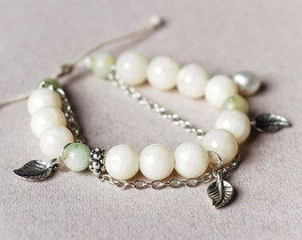 Marble and jade adjustable size bracelet, Wire wrapped natural freshwater pearl, Cotton cord beaded bracelet, Leaf charms, Gift for her