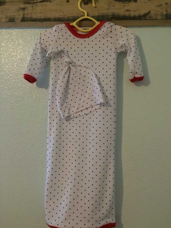 Hospital Gown for Baby Hand Made with Matching Hat  Natural bamboo Fab Black and white polka dots with red ribbing Length Keeps Baby covered