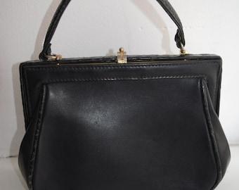 Vintage genuine black solid leather bag evening bag purse from 60's
