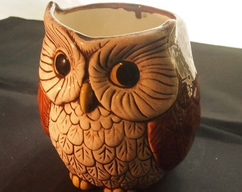 owl figurine-open top owl/dish/pot/vase- owl decor