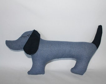Sausage dog soft toy, puppy blue pattern, dachshund