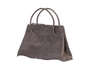 Leather Handbag, Handbag Leather, Top Handle Bag, Leather Bag, Leather Bag woman, Gray Leather Bag, Gray Handbag, Gray Bag, Gray Leather